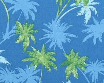 PalmTree Fabric Blue & Green Leaves Island Beach, Slate Blue, Cotton Poplin HCN10075 Ask for bulk