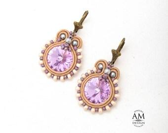 Swarovski Earrings Purple Wedding Earrings Bridal Dangle Earrings Statement Jewelry Soutache Earrings Crystal Earrings Gift For Her