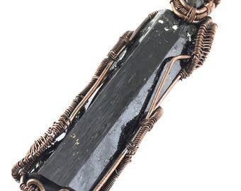 Aegirine gemstone pendant with Moldavite, wire wrapped in copper.  Cleansing The Nourishing Darkness Within