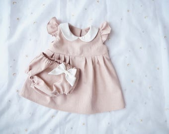 Baby Linen Dress Bloomer Set for Girl Baby, Baby Easter Dress, Baby Outfit, Dusty Pink, Classic Retro Dress, Peter Pan Collar, 1st Birthday