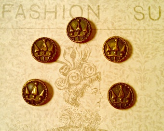 Antique Set of 5 Victorian Brass Picture Buttons, Self Shank, Trident Picture, Half Inch, Antique Supply, Collectible, Circa Mid 1800s