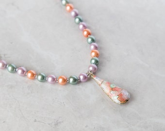 Secondary Cloisonné Beaded 2 Piece Jewelry Set - Necklace and Bracelet