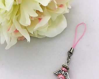 Peace Angel, Sympathy Gift, Pink Angel Bag/Purse Charm,  Gift for Her