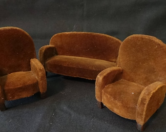 Vintage 1920's Dollhouse Miniature Brown Velvet German Couch And Chairs Set