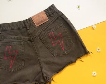 Vintage Embroidered Denim Shorts, High Waist Denim Shorts Medium, Small High Waist Denim Cut-Offs, 90s Clothing