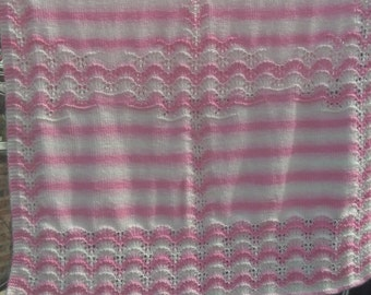 Pink and cream baby blanket