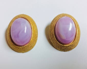 Vintage Thermoset Lavender Lilac Cabochon Clip On Earrings Gold Tone Rope Setting
