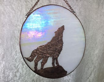 Wolf and moon, howling wolf, Wolf decor, wolf art, moon art,  moon decor, wolves, stained glass, suncatcher, howling at the moon, glass art