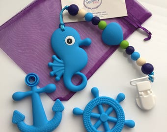 Seahorse Silicone Teether - Anchor Silicone Teether - Helm Silicone Teether - Oral Sensory Chew toys - Ocean Theme Teethers - SPD - Autism