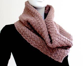 Brown Crochet Scarf, Brown Crochet Cowl, Brown Infinity Scarf, Light Neck Warmer, Handmade Crochet Scarf, Crochet Snood Scarf,Circular Scarf