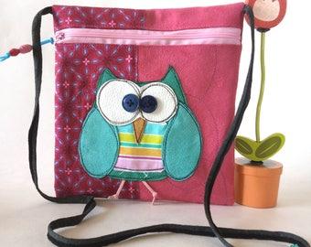 "Pocket zippered shoulder ""Bigkarre"" OWL Rose/Fucshia"