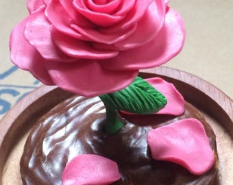 Glow in the Dark Shimmering Pink Rose fallen petals in a Glass Dome, Fairy Tale, Enchanted Rose, Glass Cloche, Rose Dome, Enchanted