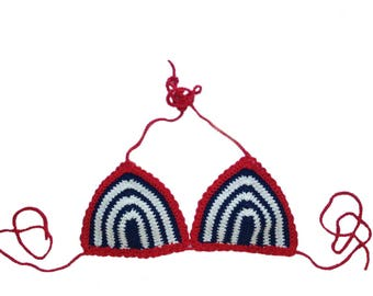 Blue and White Stripped - Outlined in Red Bikini Top