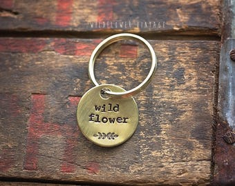 Wildflower brass key chain | hand stamped gift floral botanical Antiqued Lobster Clasp Metal free spirit daydreamer
