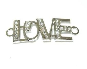 Connector LOVE silver rhinestones
