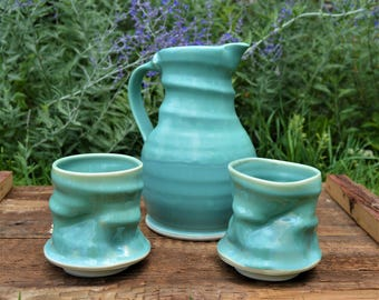 Icy Blue Porcelain Pitcher