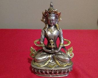 Buddhist Tibetan Silvered Chenrezig Tara Kwanyin Bodhisattva Goddess Statue