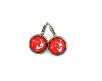 Sleepers cabochons - stem stainless steel - glass 12 mm - red earring - deer - hypoallergenic / Deers earrings