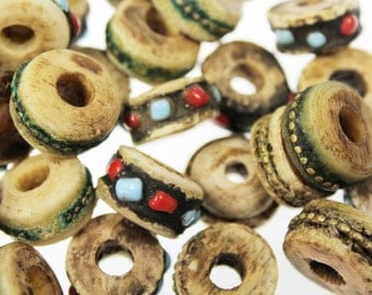 Vintage Mongolian Handcarved Bone Beads, Set of 5 Pieces, Old Yak-Bone Bead with Inlays of Brass or Turquoise and Coral, Camel-Bone Beads