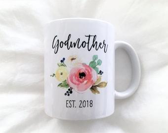 Godmother Est Mug, Godmother Mug, Godmother Mugs, Godmother Gifts, Gifts for Godmother, Baptism Gift, Godmother, Godmother Est
