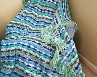Mermaid and Dreams of the Sea: Crochet Striped Wave Blanket in colors of the ocean.