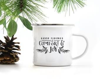 Good Tidings of Comfort and Joy Camp Mug, Christmas Campfire Mug, Christmas Mug, Metal Enamel Mug, Farmhouse Mug