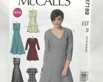 McCalls 7189 Womens Petite Plus Size Fit and Flared Dress with Long Short Sleeve Sleeveless Princess Seams Size 14 22 Uncut Sewing Pattern
