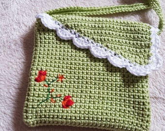 Pale Green Small Crochet Bag with hand embroidery