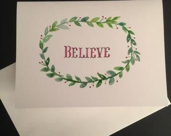 Believe Wreath/Handpainted Watercolor Greeting Card
