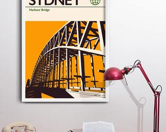 Sydney Print, Travel Poster - Harbour Bridge. nr Opera House - Australia.