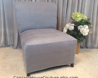 Slipcover Light Gray Suede Chair Cover For Armless Chair, Slipper Chair,  Armless Accent Chair