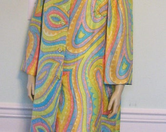 1960s Suit Esther Wolf Psychedelic Spring Colors Shantung Silk Ladies Dress and Long Jacket Plus Size