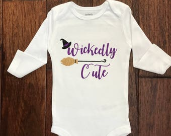wickedly cute, Halloween onesie, girl onesie