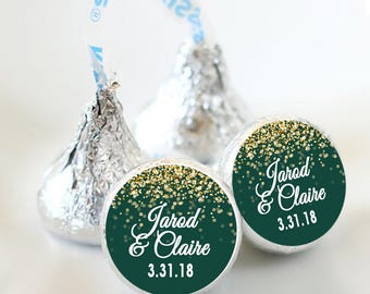 108 Hershey Kiss® Stickers - Kiss Seals - Candy Labels - Favors - Hershey® Kiss Seals  - Birthday - Wedding - Kiss Label - Sparkle - Green