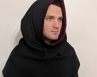 Wool Hood with Short Capelet - Flannel Lining - 13th Century Chaperon