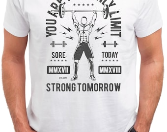 You Are Your Only Limit. Stay Strong. GYM. Powerlifting. Men's white cotton t-shirt