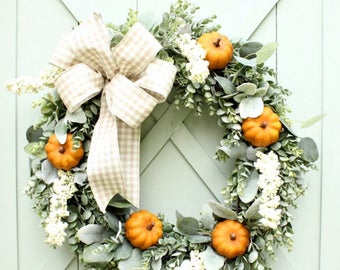 Fall Wreath ~ Pumpkin Wreath ~ Autumn Wreath ~ Fall Door Wreath ~ Eucalyptus Wreath