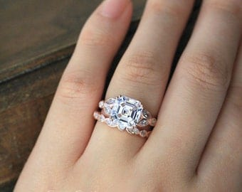 5.44 ct.tw Elegant Art Deco Bridal Set-Asscher Cut Center Stone-Marquise & Dot Eternity Ring-Rose Gold Plated-Sterling Silver [61432RG-2A]