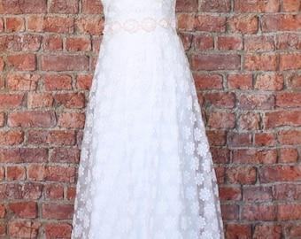 Genuine Vintage Wedding Dress Gown 70s Retro Victorian Edwardian Style UK 6...US 2