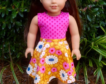 AG Doll American Girl 3 Pc. Raspberry Floral Circle Skirt Set by SuzwrightDesigns