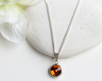 Topaz Necklace Sterling Silver - Topaz  November Birthstone Necklace -  Swarovski Topaz Necklace  - Swarovski Topaz Jewelry Jewellery - B70
