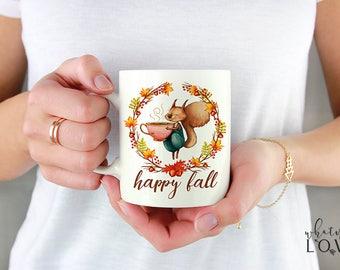 Happy Fall Mug, Autumn Mug, Fall Leaves Mug, Wreath Mug, Acorns Squirrel Mug 11oz, 15oz