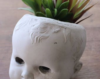 "Handmade Concrete Indoor Outdoor Garden Planter Baby Doll - The ""Liam"" Pot Head"