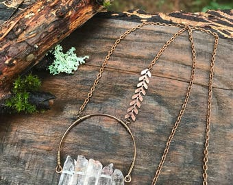 Copper Necklace - Strawberry Quartz
