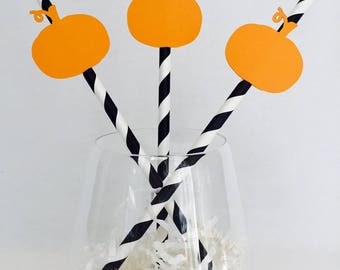 12 Pumpkin Halloween Straws - Halloween Party - Happy Halloween - Party - Black - Orange - Striped Straws - Scary Party Decorations