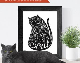 Printable Wall Art, Hand-Lettering, Home Decor, Cat Art // I Love Cats Because I Love My Home // Cat Lover Gift // Instant Download