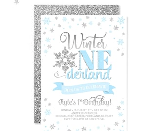 Winter Onederland Boy Birthday Invitation Blue And Silver Winter Birthday Invite First Birthday Invitation Snowflakes Birthday PRINTABLE 5x7