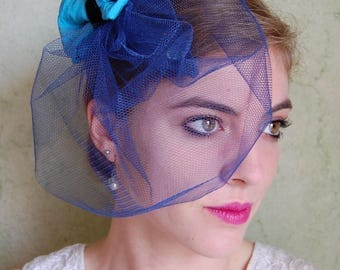 Hat - Blue Cocktail with veil and silk bow, completely handmade, unique
