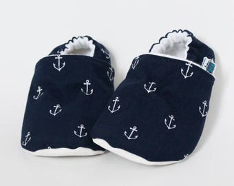 0-6 months - Baby slippers, Crib shoes, Navy anchors, Nautical, Blue, Sailor, Flannel, Cotton, Soft soles, Moccasins, Cute, Shower gift idea