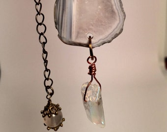 Natural Cut Crystal with Quartz Drop
